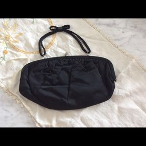 Vintage evening bag with satin peach lining